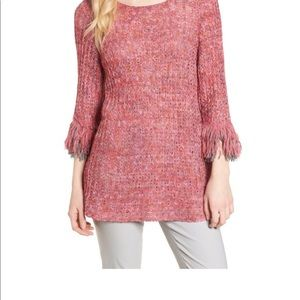 Nic + Zoe Crochet Ribbon Fringe Top Sweater
